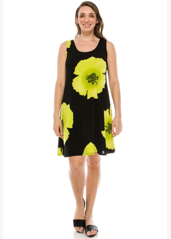Sleeveless floral dress in bright pink or lime green