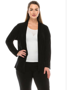 Women's black open cardigan