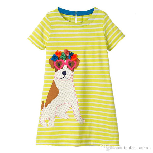 Girl's short sleeved lime puppy dress