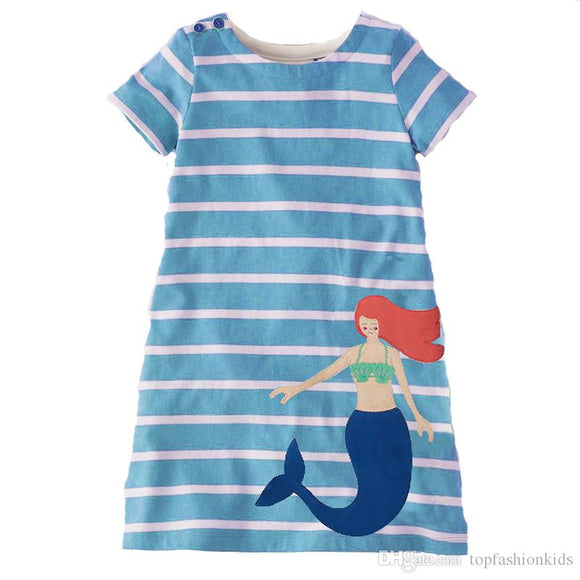 Girl's Mermaid Striped Dress