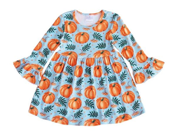 Girls Dress - Pumpkins with Ruffles
