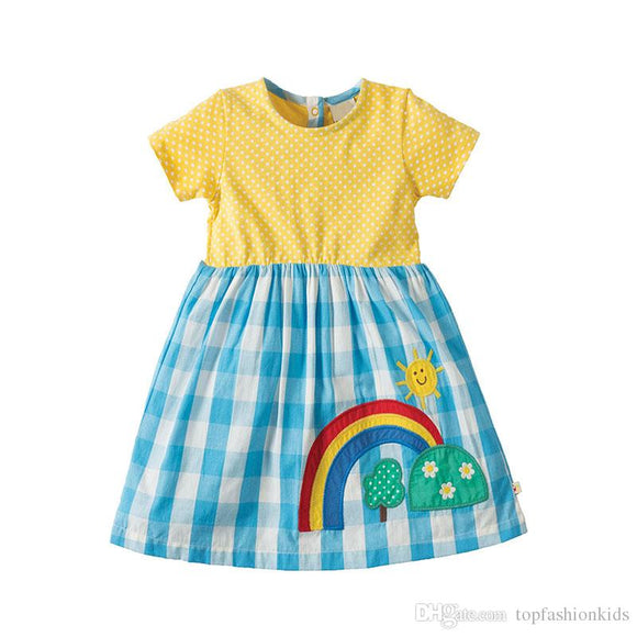 Girl's Plaid and Polka Dot Rainbow Dress