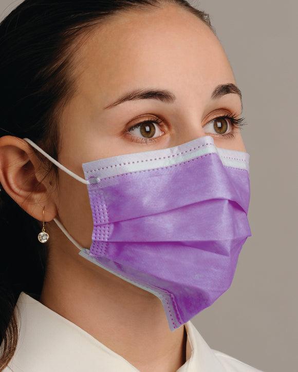 "Breathe E-Z"" Dual Fit Ear-Loop Face Mask-Pleated (50/Box)"