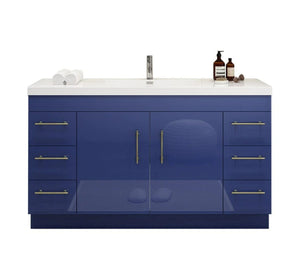 "INNOV-Elena 48"" Glossy Night Blue, Freestanding Vanity, With Reinforced Acrylic Sink Top"