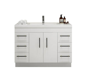 "INNOV-Elena 48"" Glossy White, Freestanding Vanity, With Reinforced Acrylic Sink Top"