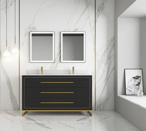 "Ivanna Barcelona 60"" Double  sink Vanity Dawn grey Finish , Golden Brass Hardware"