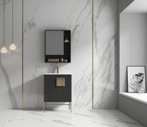 INNO_Blanca Vanity, Color Dawn Grey, Golden Brass Hardware