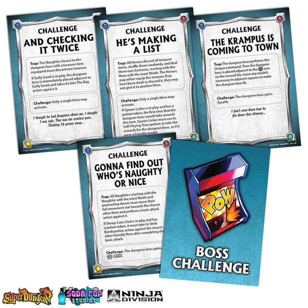 Super Dungeon Krampus Challenge Cards