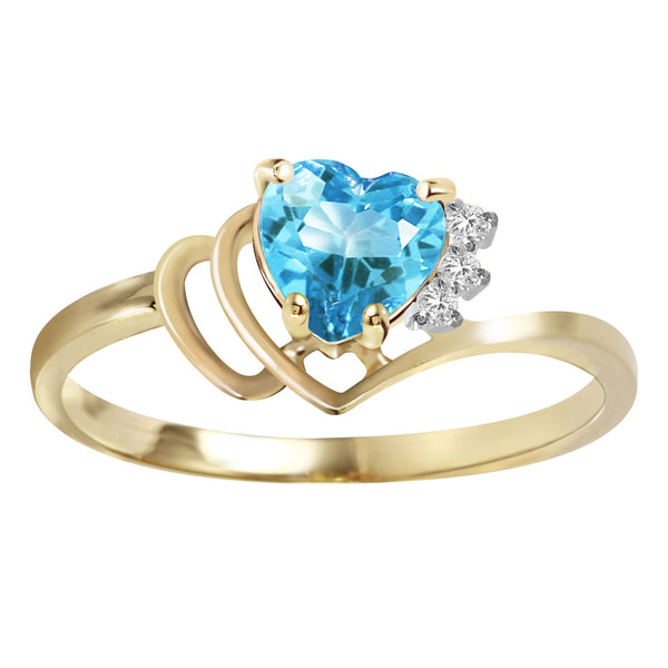 0.97 Carat 14K Gold Ring Natural Diamond Blue Topaz