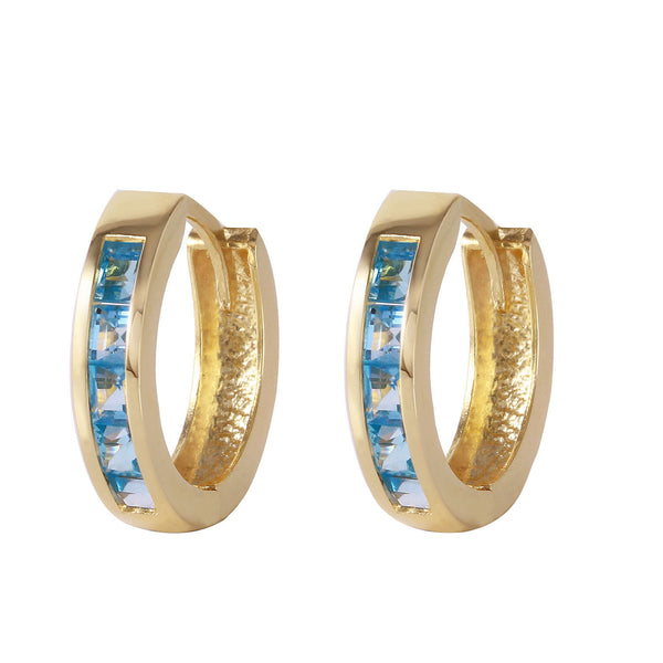 1.2 Carat 14K Solid Yellow Gold Hoop Huggie Earrings Blue Topaz
