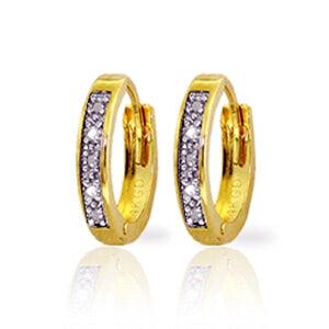 0.02 Carat 14K Solid Yellow Gold Hoop Huggie Earrings Natural Diamond