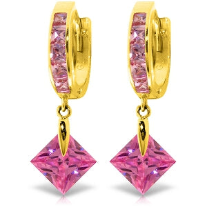 7.58 Carat 14K Solid Yellow Gold Marlena Pink Zirconia Earrings