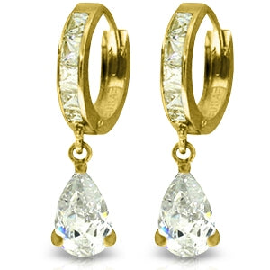 5.7 Carat 14K Solid Yellow Gold Under Fire Cubic Zirconia Earrings