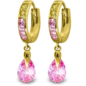 5.68 Carat 14K Solid Yellow Gold Pink Act Cubic Zirconia Earrings