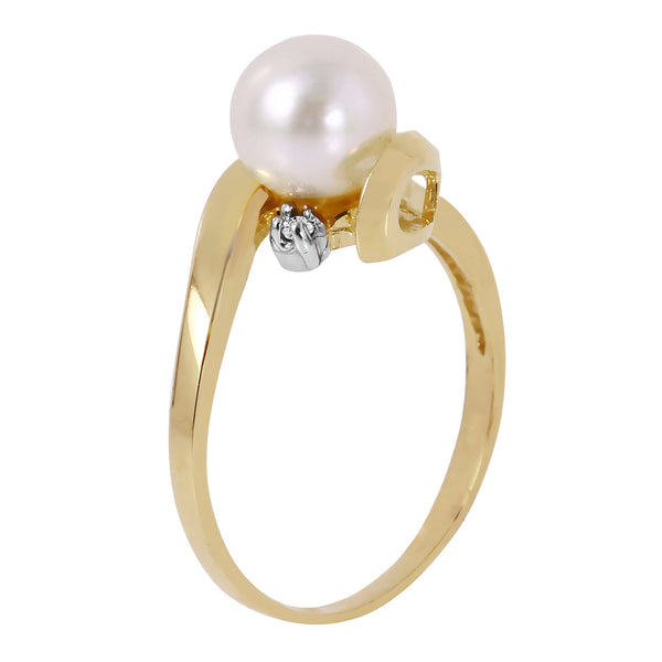 1.01 Carat 14K Solid Yellow Gold Ring Natural Diamond Pearl