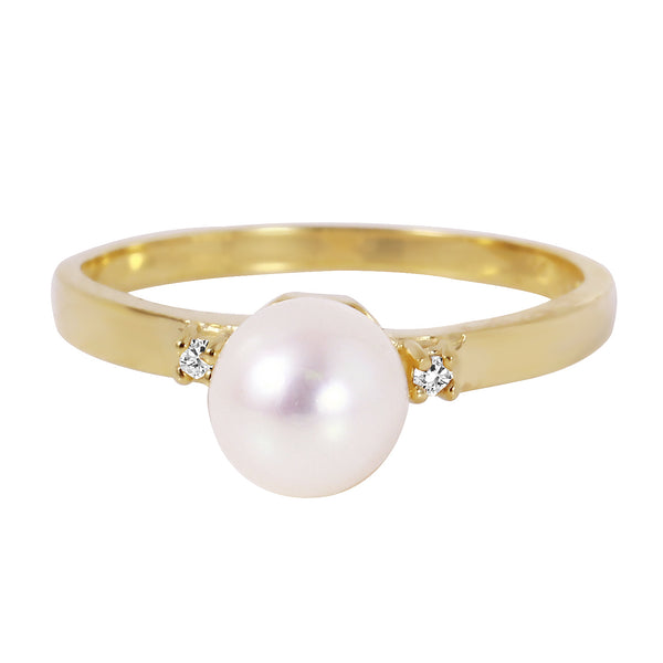 1.02 Carat 14K Solid Yellow Gold Ring Diamond Pearl