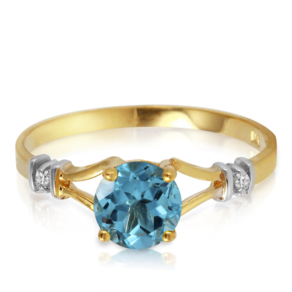 1.02 Carat 14K Gold Love's Ingredient Blue Topaz Diamond Ring