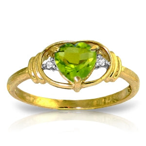 0.61 Carat 14K Solid Yellow Gold Love Prerequisite Peridot Diamond Ring