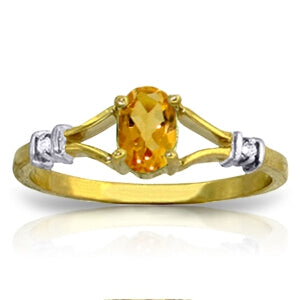 0.46 Carat 14K Solid Yellow Gold Ring Natural Diamond Citrine
