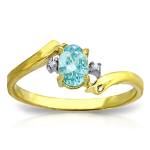 0.46 Carat 14K Solid Yellow Gold Rings Natural Diamond Blue Topaz