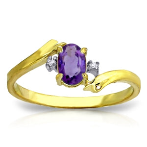 0.46 Carat 14K Solid Yellow Gold Purple Waters Amethyst Diamond Ring