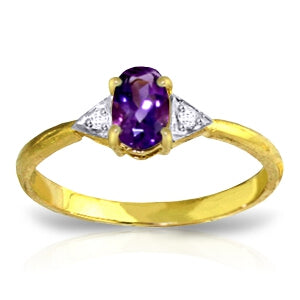 0.46 Carat 14K Solid Yellow Gold Fly Away Amethyst Diamond Ring