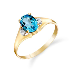 0.76 Carat 14K Solid Yellow Gold Waverly Blue Topaz Diamond Ring
