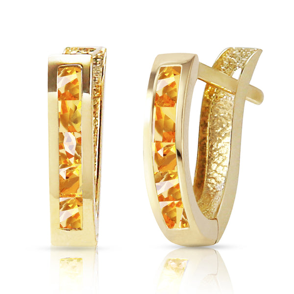 0.7 Carat 14K Solid Yellow Gold Oval Huggie Earrings Citrine