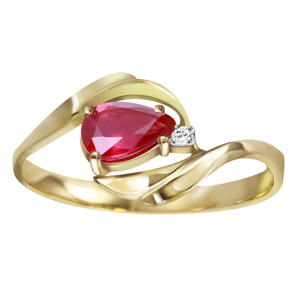 0.51 Carat 14K Gold Ruby Heat Ruby Diamond Ring