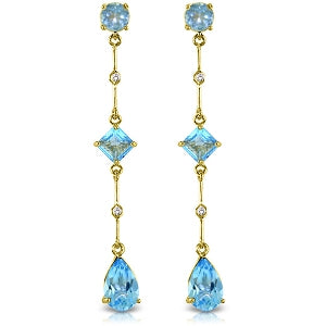 6.06 Carat 14K Solid Yellow Gold Chandelier Earrings Diamond Blue Topaz