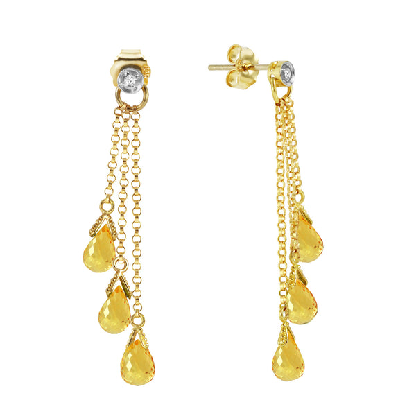 7.38 Carat 14K Solid Yellow Gold Chandelier Earrings Diamond Citrine