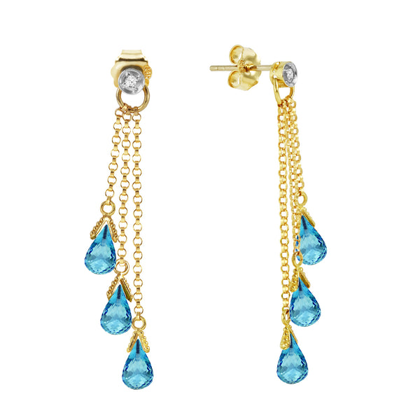 10.53 Carat 14K Solid Yellow Gold Chandelier Earrings Diamond Blue Topaz