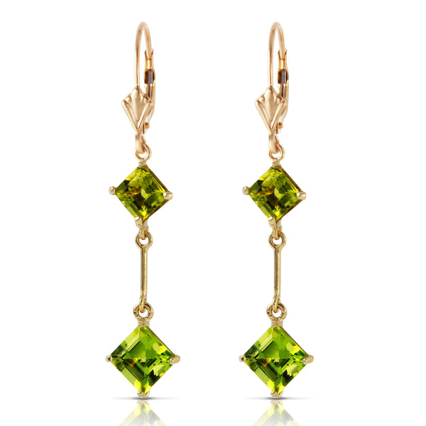 3.75 Carat 14K Solid Yellow Gold Leverback Earrings Peridot