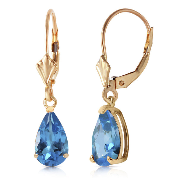 3.77 Carat 14K Solid Yellow Gold Extravaganza Blue Topaz Earrings