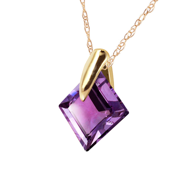 1.16 Carat 14K Solid Yellow Gold Necklace Natural Purple Amethyst