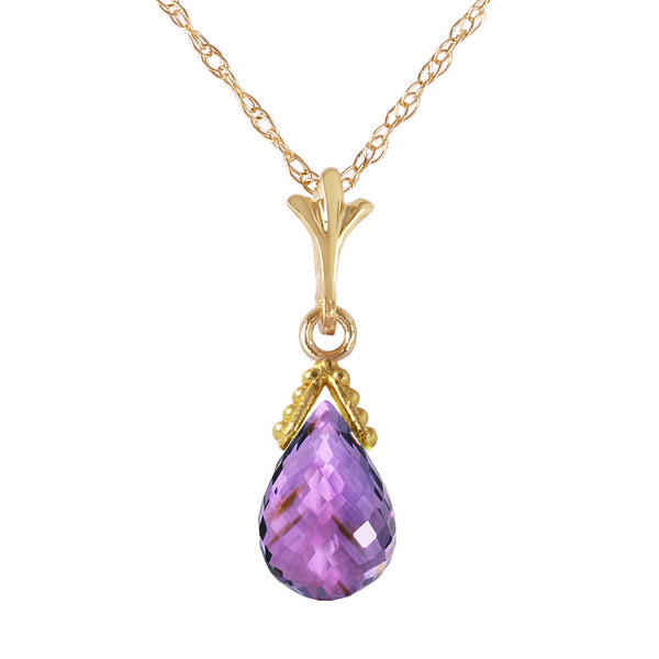 2.5 Carat 14K Gold Necklace Briolette Purple Amethyst