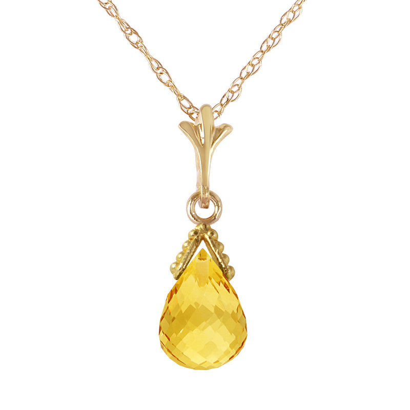 4.5 Carat 14K Solid Yellow Gold Necklace Briolette Citrine