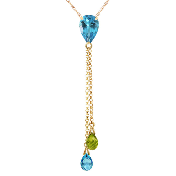 3.75 Carat 14K Solid Yellow Gold Necklace Blue Topaz Peridot