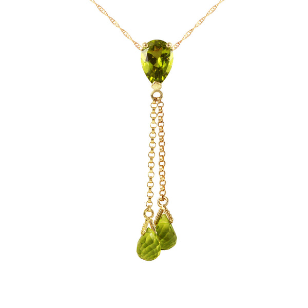 3.75 Carat 14K Gold Necklace Peridot