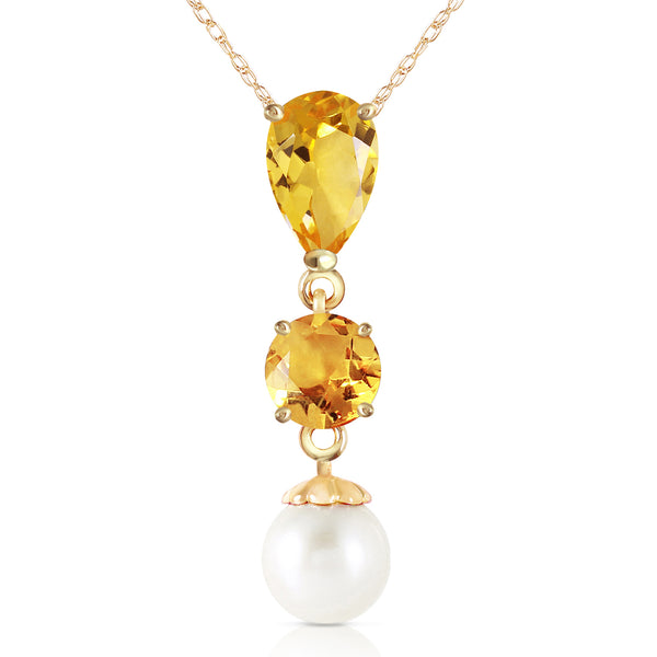 5.25 Carat 14K Solid Yellow Gold Necklace Citrine Pearl