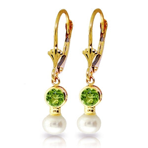 5.2 Carat 14K Solid Yellow Gold Leverback Earrings Pearl Peridot