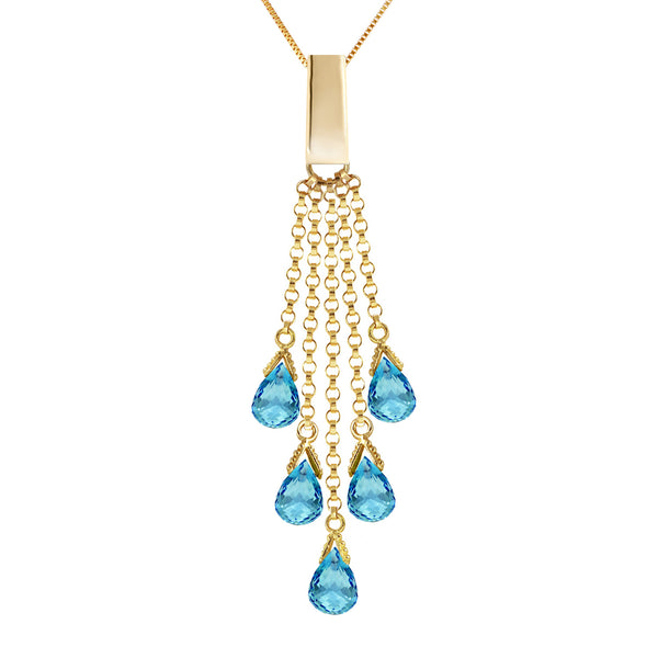 5.8 Carat 14K Gold Upper East Side Blue Topaz Necklace