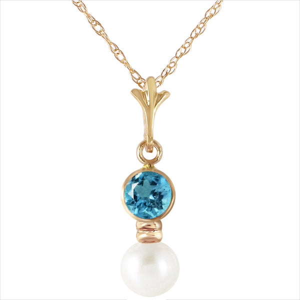 1.23 Carat 14K Gold Necklace Blue Topaz Pearl