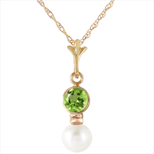 1.23 Carat 14K Solid Yellow Gold Necklace Peridot Pearl