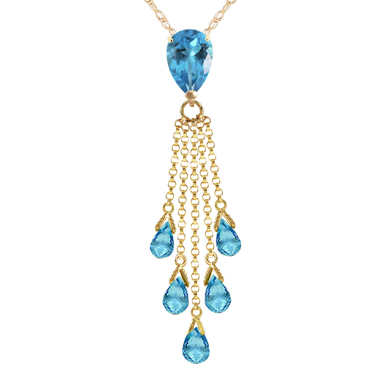 7.5 Carat 14K Gold Stand Tall Blue Topaz Necklace