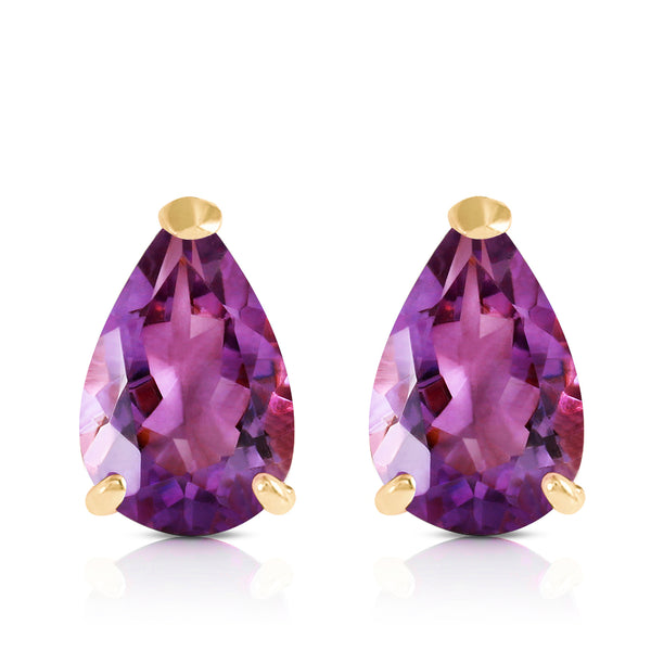 3.15 Carat 14K Solid Yellow Gold Stud Earrings Natural Amethyst