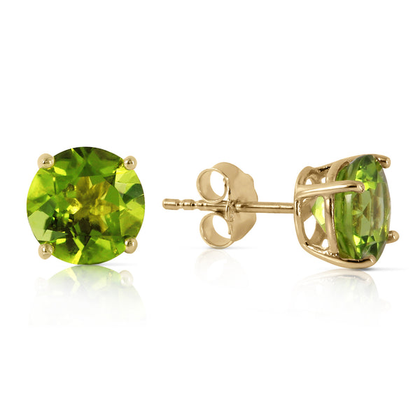 3.1 Carat 14K Solid Yellow Gold Stud Earrings Natural Peridot