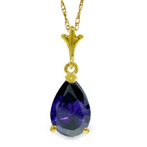 1.5 Carat 14K Solid Yellow Gold Necklace Natural Sapphire