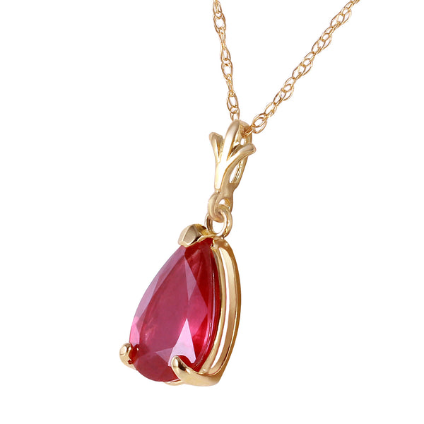 1.75 Carat 14K Gold House Of Flesh Ruby Necklace