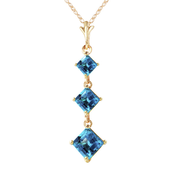 2.4 Carat 14K Gold Well Versed Blue Topaz Necklace